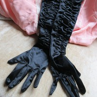 Vintage Long Black Satiny Dress Evening Gloves