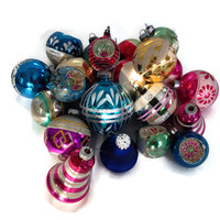 Vintage Christmas Tree Ornaments, Glass, Lot of 22, Assorted Colors, Sizes and Styles, Christmas Holiday Decor,