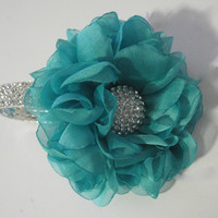 Gorgeous Aqua Turquoise Chiffon Flower Bracelet Wrist Corsage or Designed in Your Colors Custom Order Wedding Prom Homecoming Winter Formal
