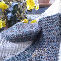 Knitted Scarf & Slouchy Hat Set Boucle' Vintage Bulky Yarn Teal-Heather Earth Tones