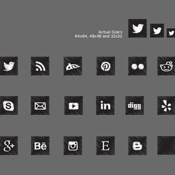 17 social media icons for blog or website. Black and white crosshatch. Sketched icon design. Square icons in 3 sizes. Instant Download
