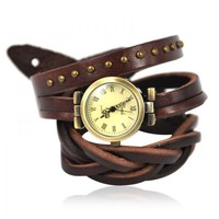 Vintage Brown Leather Wrap Watch