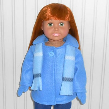Medium Blue Coat made for 18 inch Doll Clothes Fleece Jacket with Mittens and Scarf American Doll Clothes