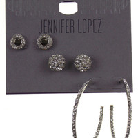 3 Pair Jennifer Lopez Pierced Earrings Silver Post Faux Clear Crystals Hoop Stud