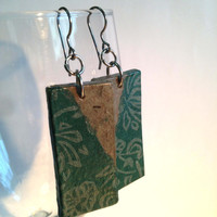 Green Grey Hanji Paper Dangle Earrings Flower Pattern Hypoallergenic hooks Lightweight Ear rings