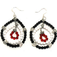 Black White and Red Hoop Earrings , Beaded Hoop Earrings , Glass Bead Earrings , Fashion Jewelry , Jewelry Gift , Dangle Earrings
