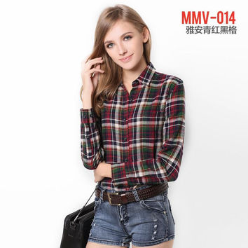 Galeoid cotton women's spring sanded female long-sleeve plaid shirt Women 100% cotton shirt