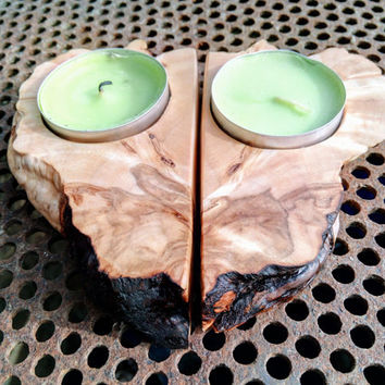 Rustic Wood Tea light Candle Holder 2 tealight holder / Personalized Candle Holder / Unique Home Decor / wedding candles