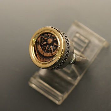 widow mite ring-silver and gold women's ring size 6.5 with widow mite coin-handmade silver & gold ring