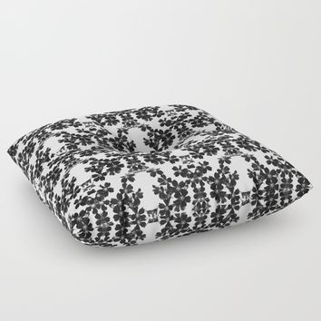 primrose bw pattern Floor Pillow by ARTbyJWP