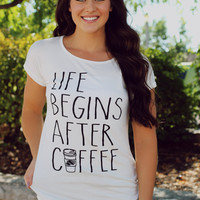 Life With Coffee Graphic Tee- Ivory