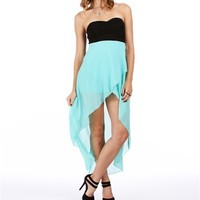 Pre-Order: Black/Teal Mint Hi Lo Homecoming Dress