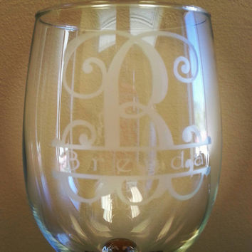 Personalized initial wine glass. Monogrammed glass bridesmaid gift birthday glass