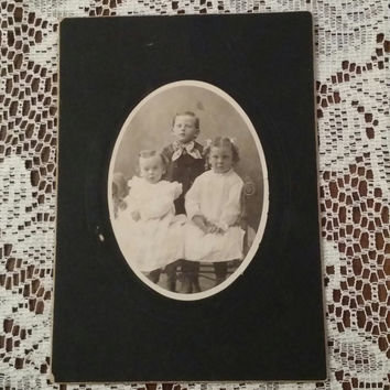 Antique Victorian edwardian cabinet card children siblings