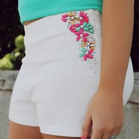 Floral Bedazzled Shorts - White