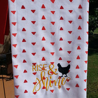 Rise & Shine Embroidered Red and White Flour Sack Dishtowel