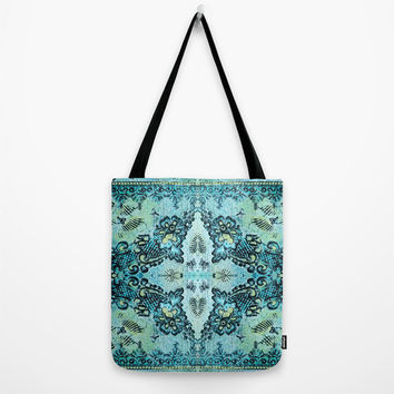 Boho Tote Bag in aqua with rose lace pattern and butterflies, washable and in three sizes, book bag, lunch bag, beach bag, grocery bag