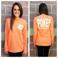 OSU Stillwater pokes comfort colors long sleeve t-shirt - Orange /