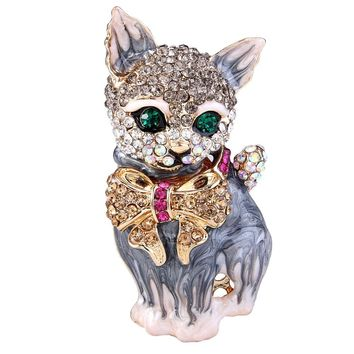 BELLA 4 Colors Hot Cartoon Cat Pet Animal Rhinestone Brooch Pin Enamel Brooches Women Jewelry