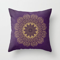 Decorative Throw Pillow - different sizes to Choose From, Square, Rectangular, Double-sided print, Indoors, Outdoors, Mandala, Purple, Gold