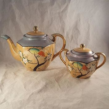 Nippon Japanese Lustreware Coffee Pot And Sugar, Hand Painted