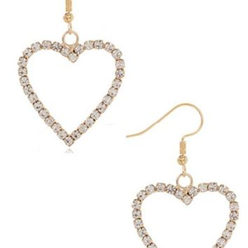 Be Still My Heart Rhinestone Heart Dangle Earrings