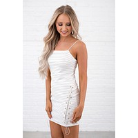 Abigail Striped Dress (White)