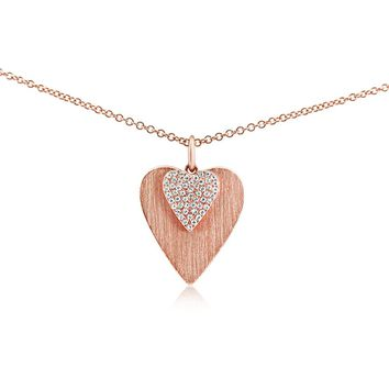 Diamond Double Heart Necklace Rose Gold