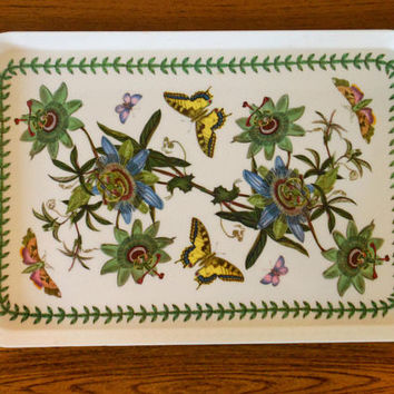 "Portmeirion Botanic Garden Tray, Passion Flower 17"" Rectangular Melamine Tray, Passion Flower Portmeirion Tray with Swallowtail Butterflies"