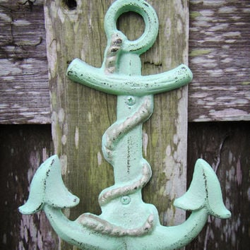 Nautical Anchor Hook / Mint and Gold / Nautical Decor / Children's Room / Hand Painted Cast Iron Wall Hook / Beach Wall Art / Key Holder
