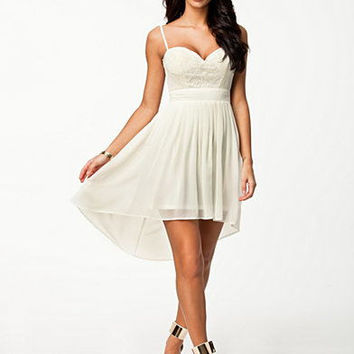 White Lace Bustier Chiffon Mini Dress