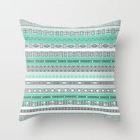 Cool Mint Tiffany Aztec Pattern Throw Pillow by RexLambo | Society6