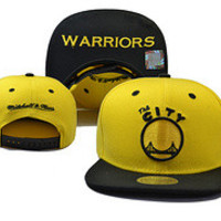 Golden State Warriors The City Logo Mitchell & Ness Yellow Fiery Snap Back Hat