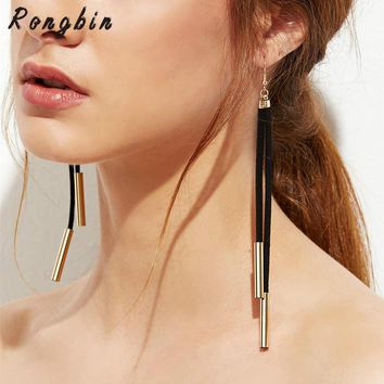 2017 New Hot Fashion Designer Black Suede Leather Gold Silver Copper Tube Long Drop Earrings For Women Ear Jewelry Bijoux Femme