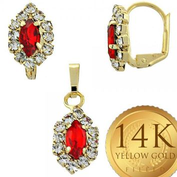 Gold Layered Women Earring and Pendant Adult Set, with Garnet Cubic Zirconia, by Folks Jewelry
