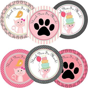 Kitty Cat Thank You Sticker Labels - Girl Birthday Baby Shower Party Supplies - Set of 30