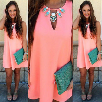 Sexy Women Chiffon Sleeveless Party Evening  O-Neck Casual Mini Dress Sundress Orange Pink
