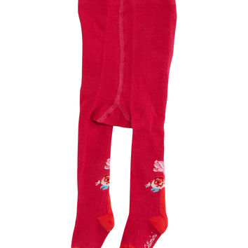 Floral-Intarsia Footed Tights, Fuchsia, Size 6M-6, Size: