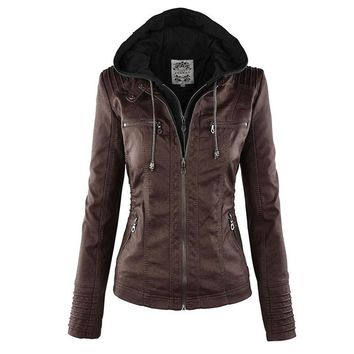 Women hoodies Gothic faux leather Khaki coats Winter Motorcycle Black Outerwear faux leather PU Jacket girl Coat HOT
