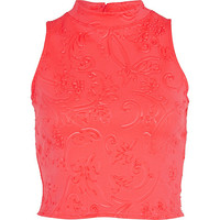 River Island Womens Coral embossed pattern turtle neck crop top