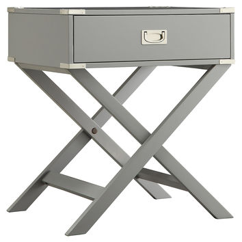 Anders Campaign Nightstand, Light Gray, Nightstands
