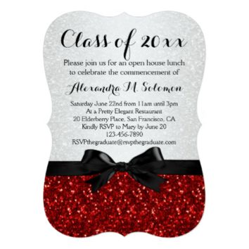 Red/White Sparkly Bow Shaped Graduation Invitation 5