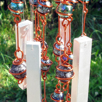 Apache Tear Windchime / Wind Chime with Recycled Aluminum and Copper Wrapped Iridescent Teal & Black Glass Marble Prisms
