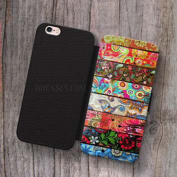 Wallet Leather Case for iPhone 4s 5s 5C SE 6S Plus Case, Samsung S3 S4 S5 S6 S7 Edge Note 3 4 5 Paisley Planks Cases