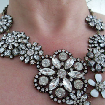 Sparkly Floral clear crystal Choker Chunky Statement Bib Collar Necklace Chain