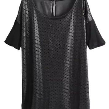 Black Mesh Sleeves Grid Cut-Out Faux Leather T-Shirt