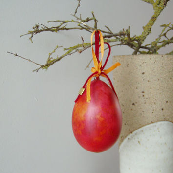 Red hanging egg, red Easter egg, hanging from a ribbon, ceramic, earthenware egg in acrylic paint and varnish, ceramic, Greek Easter egg