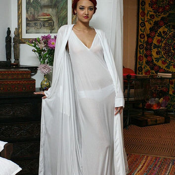 Silk Rayon Wrap Lounge Robe Bridal, Cruise, Honeymoon, Spa Lingerie Sleepwear