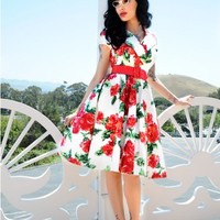 Birdie Party Dress in Red Vintage Floral