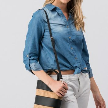 Denim Button Down Tie Top